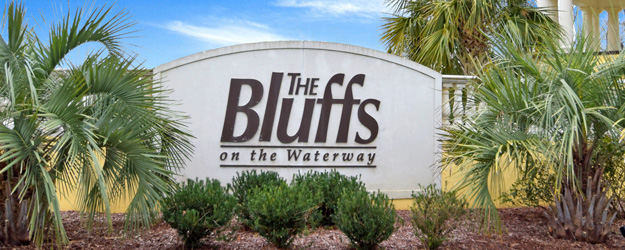 The Bluffs on the Waterway Sign